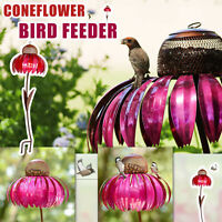 Creative Sensation Pink Coneflower Bird Feeder Outdoor Garden Yard Decoration