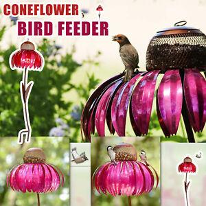 Creative Sensation Pink Coneflower Bird Feeder Outdoor Garden Yard Decoration