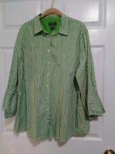 Womans Plus Size 2X Lime Green Checkered Shirt by Mountain Lake Woman