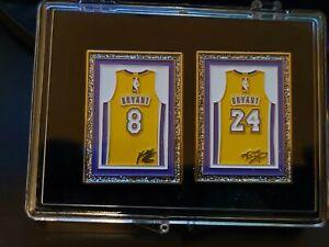 "Lakers Kobe Bryant Retired # 8 #24 Jersey  Framed Lapel Pin 1.75"" Display Case"