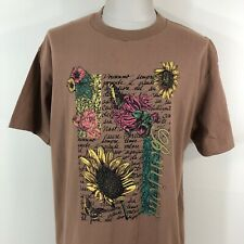 Vintage 90s Bonjour Flowers Sun Flower Single Stitch T Shirt Men's 2Xl Xxl Brown
