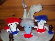 Adorable 4in crochet Baby Trolls set of 3 doll toy animal red white + blue #4