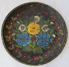 "Mexican Batea Floral Handpainted & Carved Wood Folk Art Toleware Bowl Blue 19"""