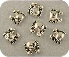 2 Hole Beads Crabs Mini ~Ocean Beach Sea Alaskan King~Silver Metal Sliders QTY 7