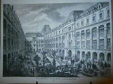 Gravure 19° Embellisement de Paris le jardin des magasins réunis