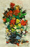 ANDRE DLUHOS ORIGINAL OIL PAINTING Still Life Floral Garden Flowers Bouquet Vase