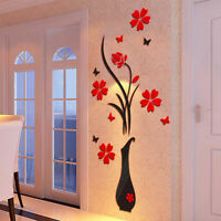 DIY Vase Flower Tree Crystal Arcylic 3D Wall Stickers Art Vinyl Decal Home Decor