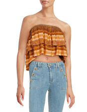 NWT Free People Indian Summer Tube Top Orange Striped  Size L