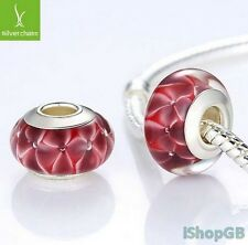High Quality Silver Plated Flower European Murano Glass Beads Charm Fits