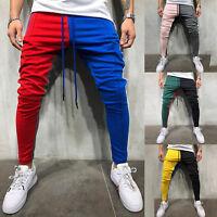 Mens Track Pants Striped Joggers Sweatpants Slim Fit Drawstring Long Trousers US