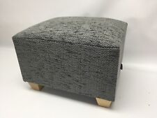 Footstool / Pouffe / Small Stool /dark grey Herringbone Chenille Lt wood feet