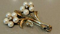 Vintage Gold Pearl and Diamond Floral Brooch