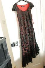 WINDSMOOR GOTHIC BLACK RED LONG DRESS FLAMENCO TANGO