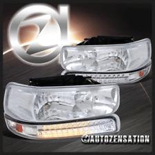 Chrome 99-02 Silverado 00-06 Tahoe Suburban Crystal Headlight+LED Bumper Lamps