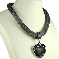 Grand Pendentif Coeur Cristal Hématite couleur bijoux mode collier ras du cou