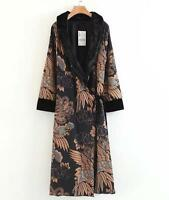 fashion womans spring flower embroidered kimono long slim jacket coat parkas