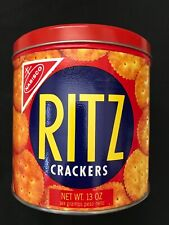 Vintage Nabisco Ritz Crackers Tin Round Container- 13 Oz With Lid- 1977