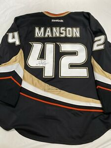 GAME USED GAME WORN JOSH MANSON ANAHEIM DUCKS SIGNED AUTOGRAPHED ISSUED NOT WORN