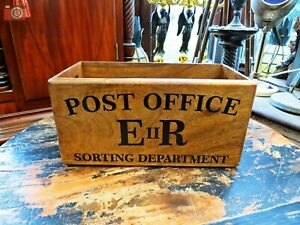 POST OFFICE THEME WOODEN BOX TRUG. Vintage Style, Letters & Many Other Uses