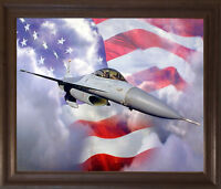 Military F-16A Falcon Fighting Jet Flag Aviation Wall Art Picture Framed (19x23)