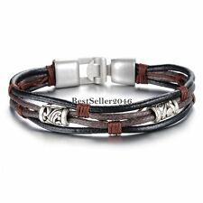 Mens Womens Braided Leather Rope Black Brown Cord Wrap Bracelet Wristband Gift