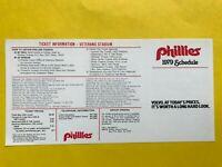 1979 Philadelphia Phillies UNFOLDED Vintage Baseball pocket schedule card MLB 1