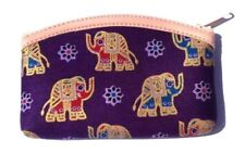 Small purple coin purse with cartoon elephant pattern