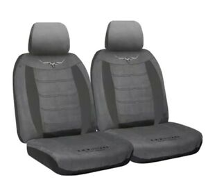 (RMW) RM WILLIAMS FRONT CAR SEAT COVER SUEDE VELOUR GREY fits Most Cars