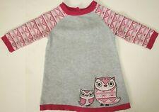 Gymboree 12-18M Fair Isle Friends Pink Gray Winter Owl Knit Sweater Dress Cute!
