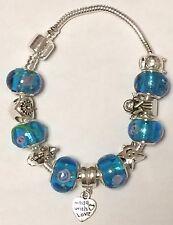 Perline di vetro di Murano con 925 Argento Sterling Ciondoli & Braccialetto Europeo-Blu