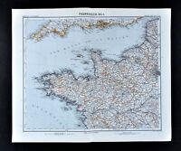 1911 Stieler Map France Brittany Nantes Le Havre Paris Channel Islands England