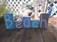 Beach sign wood block set 5 letters coastal tropical home decor handmade phrase