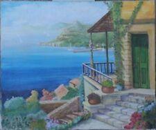 Peintures du XXe siècle et contemporaines, sur le thème du paysage marin et du bateau, de style Art naïf