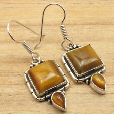 """Silver Plated Low Shipping Rates Jewelry Brown Tiger'S Eye Earrings 1.5"""" 925"""