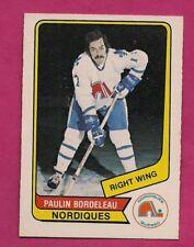 RARE 1976-77 OPC WHA # 98 NORDIQUES PAULIN BORDELEAU NRMT CARD (INV# A7708)