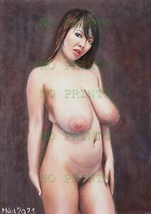 oil painting_NUDES ACT & EROTIC HITOMI TANAKA signed _30x21cm_11,8x8,2in