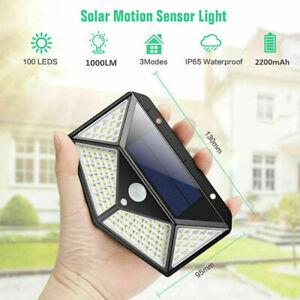 2PK 100 LED Waterproof Solar Power PIR Motion Sensor Wall Light Lamp Waterproof