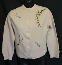 VINTAGE 1950s 60s ~ Cafe Latte Lambswool Cardigan w Grub Rose Embroidery Small