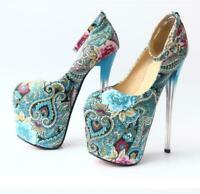 Platform Buckle Strap Floral Round Toe High Stiletto Heel Womens Pump Shoes Club