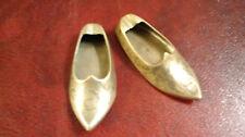 2 Vintage Engraved Brass Aladdin Shoe Slipper Ashtrays