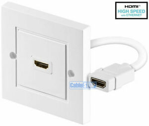 WHITE HDMI LEAD WALL PLATE WITH CABLE FULL HD 1080p TV CABLE FACEPLATE CONNECTOR