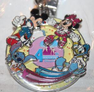 Hong Kong Disneyland 4th Anniversary Keychain Mickey Minnie Stitch Donald