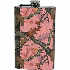 Pink Camo Pocket Flask with Funnel Stainless Steel 9 Oz Flip Top New Camouflage