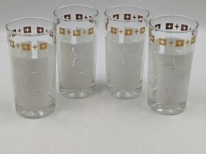 4 Retro Midcentury Atomic MCM Drinking Glass Tumblers White Gold Stars