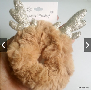LTB: TARGET PLUFFY FUR HOLIDAY COSTUME RAINDEER SCRUNCHIES HAIR PONY TIE