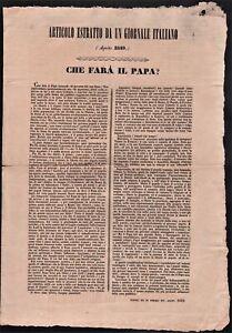 Bando Repubblica Romana Estratto originale Che farà il Papa? Agosto 1849
