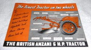 Original British Anzani 6 HP Tractor full line brochure dated 1965 full line