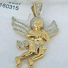 ".19 c 10k solid two tone white yellow Gold Diamonds Angel Pendant 1.25 "" long"