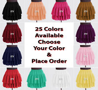 25 Colors Women Girl Chiffon Short Mini Tiered Skirt Pleated Retro Elastic Waist