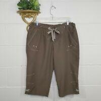Columbia Brown Bermuda Shorts Size Large Zipper w/Drawstring Waist Stretch